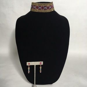 Jewelry - Beaded choker and matching earrings